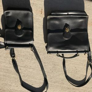 Two black vintage Coach purses